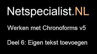 6. chronoforms v5 eigen tekst in het formulier