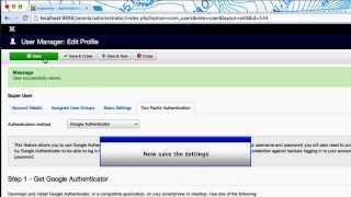 Joomla 3.2 Two Factor Authentication