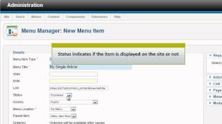 Joomla 2.5 - Add New Menu Item